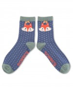Powder Bamboo Mr Fox Ankle Socks Navy