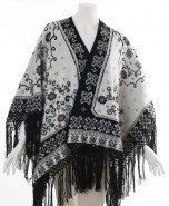 Alpaca Reversible Ruana Cape Black & White