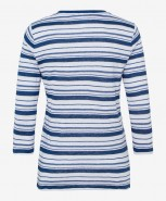 Brax Claire Linen Striped Top Blue