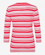 Brax Claire Linen Striped Top Red