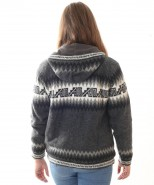 Alpaca Inca Cardigan Hooded Grey