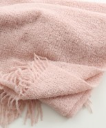 Alpaca Boucle Blanket/Throw Pale Pink