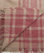 Alpaca & Wool Blanket/Throw Red & Beige Check