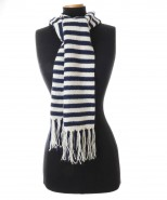 The Alpaca Collection Stripey Scarf Navy