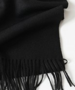 Alpaca Fringed Scarf Black