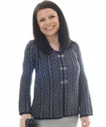 Alpaca Aileen Flared Sleeve Cardigan Navy & Grey