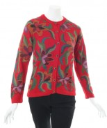 The Alpaca Collection Alexis Floral Cardigan Red