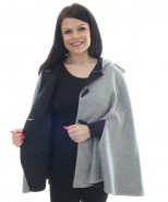 Alpaca & Merino Wool Reverisible Hooded Cape Black & Grey