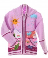 Childrens Applique Cardigan Lilac Pink