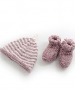 Alpaca Hand Knitted Baby Slippers Pink