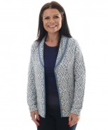 Alpaca Blue & Cream Print Cardigan