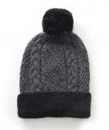 Alpaca Gisell Pom Pom Cable Knit Hat Charcoal And Black