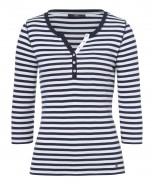 Brax Claire 3/4 Sleeve T-Shirt Navy Stripe