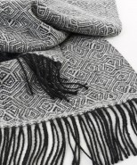 Baby Alpaca Woven Brushed Geometric Throw Black & Natural