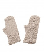 Alpaca Scallop Edge Fingerless Gloves Beige