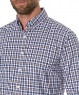 Brax Navy & Tan Checked Long Sleeved Shirt