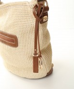 David Jones Woven Slouch Handbag Beige