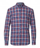 Brax Dries Maroon Checked Long Sleeved Shirt