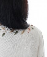 Alpaca Embroidered Cardigan Cream