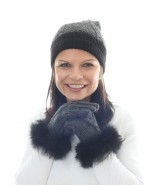 Alpaca Gisell Pom Pom Cable Hat Charcoal And Black