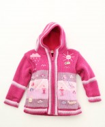 Childrens Alpaca Applique Lined Cardigan Fuschia Pink