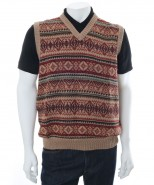 The Alpaca Collection George Sleeveless Sweater Beige Print