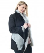 Alpaca & Merino Reversible Fur Trimmed Coat Grey