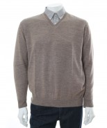 The Alpaca Collection Mens V Neck Jumper Oatmeal