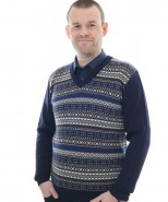 Mens Oxo Baby Alpaca V Neck Jumper Navy