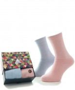 Alpaca Sock Box Cushioned Sole Blue/Pink