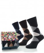 Alpaca Sock Box Argyle Navy/Brown/Charcoal