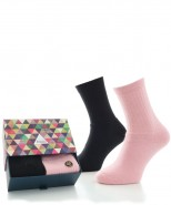Alpaca Sock Box Cushioned Sole Black & Pink