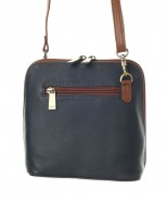 Nova Leather Small Cross Body Handbag Navy & Chestnut Style 820