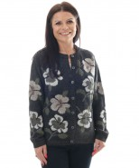 The Alpaca Collection Paige Floral Cardigan Charcoal