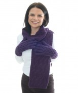 Alpaca Snake Cable Knit Gloves Purple