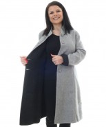 Alpaca & Merino Wool Reversible Long Coat Black & Grey