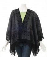 Alpaca Ruana Reversible Cape Black & Grey