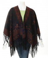 Alpaca Ruana Reversible Cape Rust
