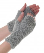 Alpaca Scallop Edge Fingerless Gloves Grey
