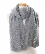 Alpaca Scallop Edge Scarf Grey