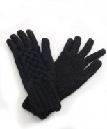 Alpaca Cable Knit Gloves Black