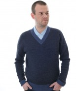 Alpaca V Neck Jumper Blue