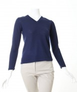 Alpaca V neck Jumper Navy