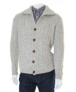 Wilson & Sloane Sheep Wool Cable Knit Cardigan Silver Frost