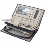 Primhide Leather Tab Purse RFID Navy/Taupe