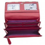Primhide Laether RFID Purse Red & Taupe
