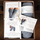 Alpaca Bed Sock Knitting Kit Grey
