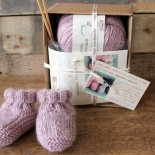 Alpaca Baby Slippers Knitting Kit Pink