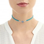 Shrieking Violet Forget Me Not Blue Heart Choker