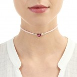 Shrieking Violet Heather Pink Heart Choker
